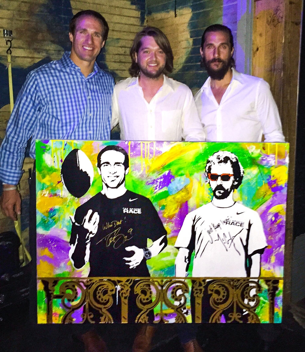 Matthew and Drew  sign along with pose behind Tripp's custom painting. The portrait was donated to help raise funds for both their charities;  The Bree's Dream and Just Keep Livin Foundation. Special thanks to the Super Service Challenge!