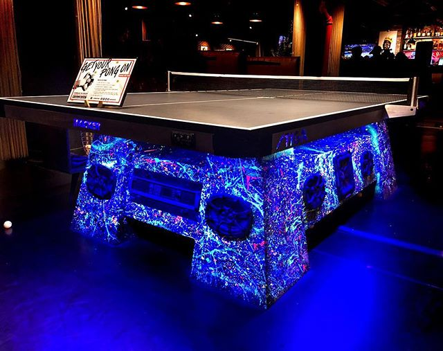 Stellar new black light installed underneath the table I did at @wearespin. Looks dope! Who wants to play? #MoneyOnTheTable #pingpong #nyc #spin #artBreak