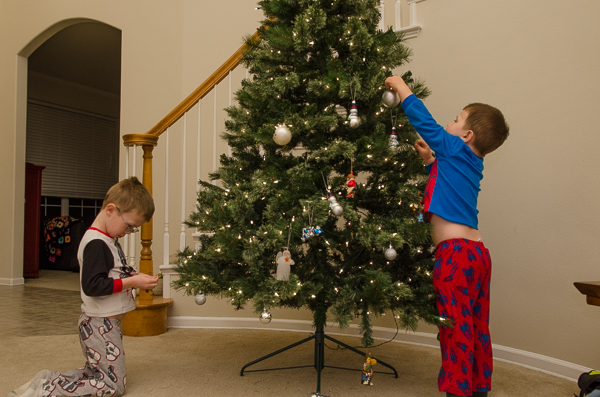 these two guys havent always been super into decorating the big tree but they usually add an ornament or two this year they wanted to do it all