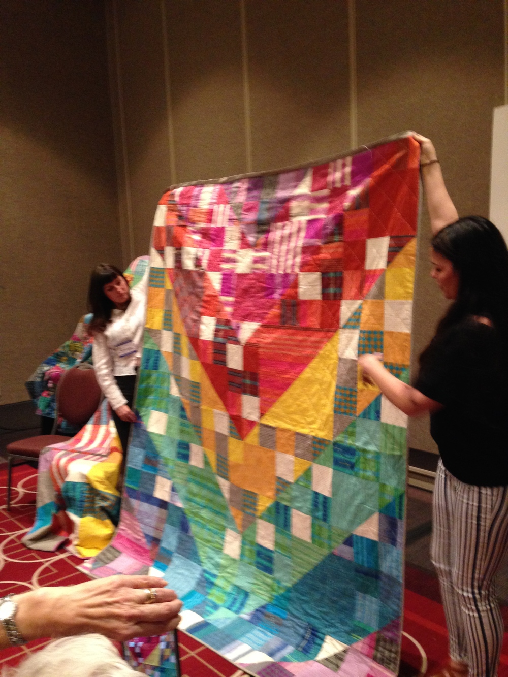 Anna Marie Horner showing new quilt and fabrics