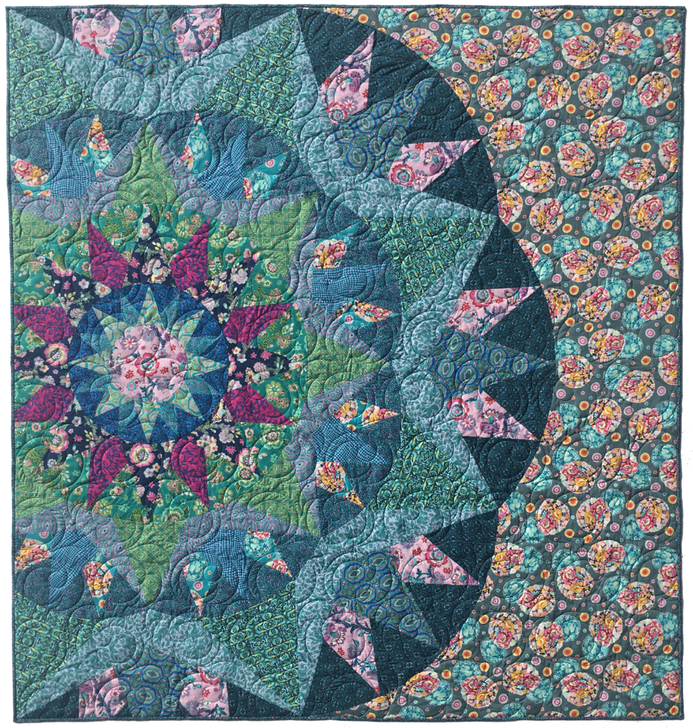 "Blossom Song 78""x82"" - Custom version quilt made for Amy's Quilt Market Booth."
