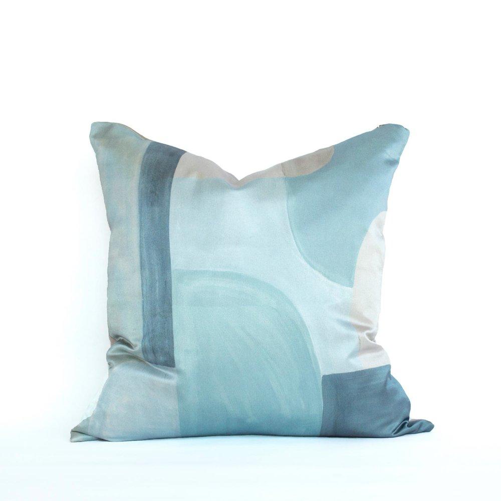 Whythe Blue Blocks   printed silk satin