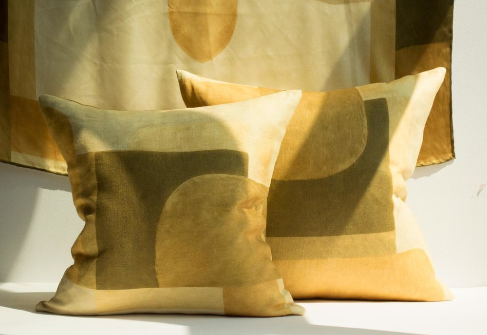 Ochre Blocks   printed linen
