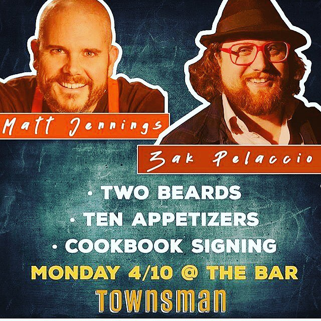 """TONIGHT!! @zakarypelaccio @cookblog will be signing books + slingin' wings with @matthewjennings @townsmanboston .  Starts at 5:30 in Da Bah (that's """"The Bar"""" in Boston). Wicked cool."""
