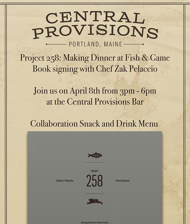 TOMORROW!! Come one, come all.  Central Provisions | 414 Fore St | Portland, ME. @zakarypelaccio @cookblog @longfellowbooks @_centralprovisions_