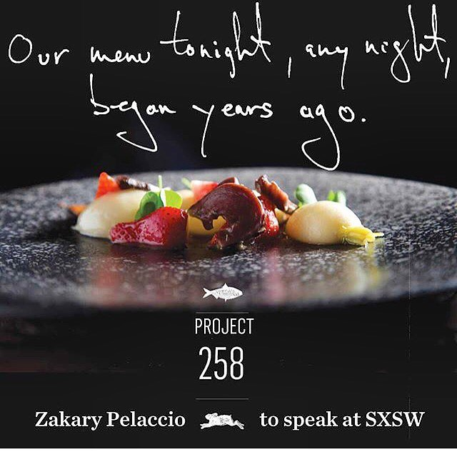 Zak Pelaccio to speak on a panel at SXSW with a book signing for our book #Project258 afterwards.  Come on y'all!! (panel) Hunter, Gatherer, Chef: Going Beyond Farm to Table MAR 11, 2017 | 11:00AM – 12:00PM The Driskill - Maximilian 604 Brazos St, ATX  Zak Pelaccio Book Signing MAR 11, 2017 | 12:30PM – 1:00PM Austin Convention Center 500 E Cesar Chavez,ATX  @fishgamehudson @utexaspress @edibleaustin