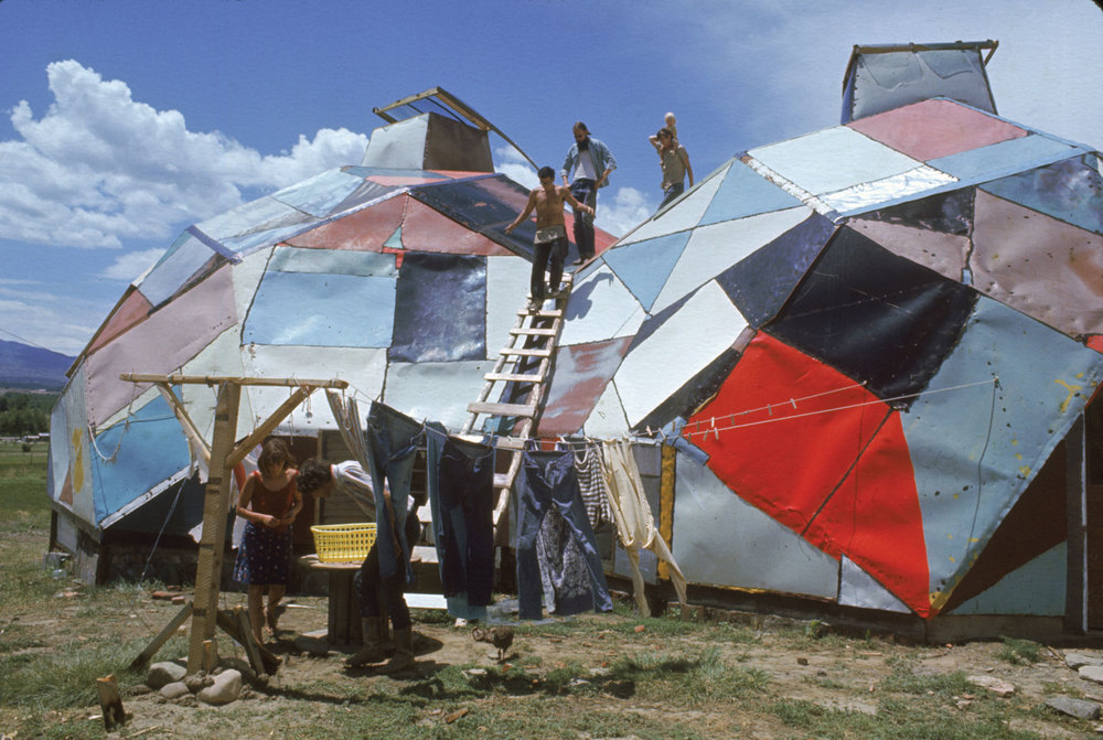 At Drop City,  Steve Baer  pioneered dome designs made from old car roofs that he hacked out of the junkyard with an ax -- an adhocist pioneer, replaying America's creation myth with a new field of resources.