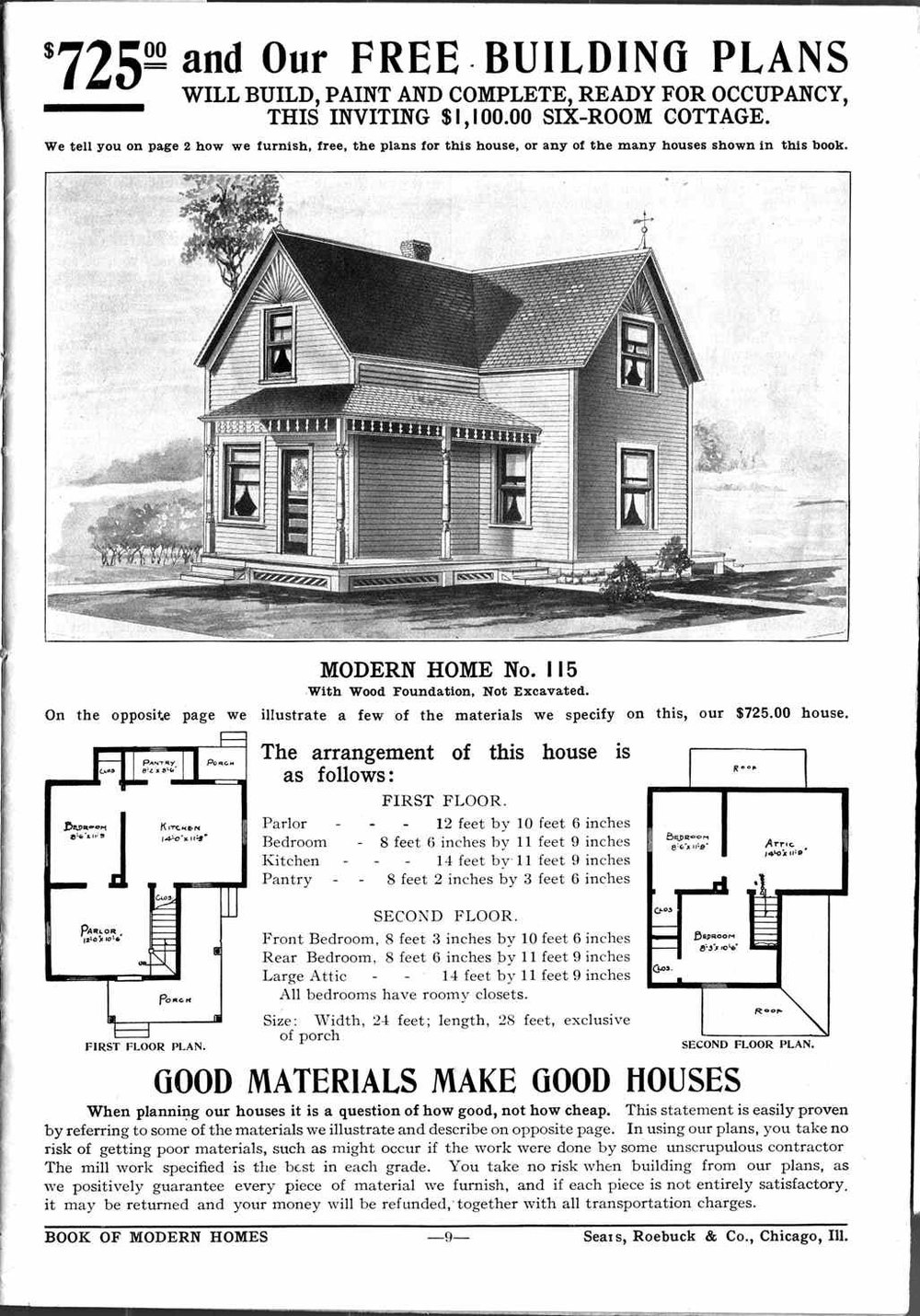 Sears flat-pack home ad, via Boing Boing.