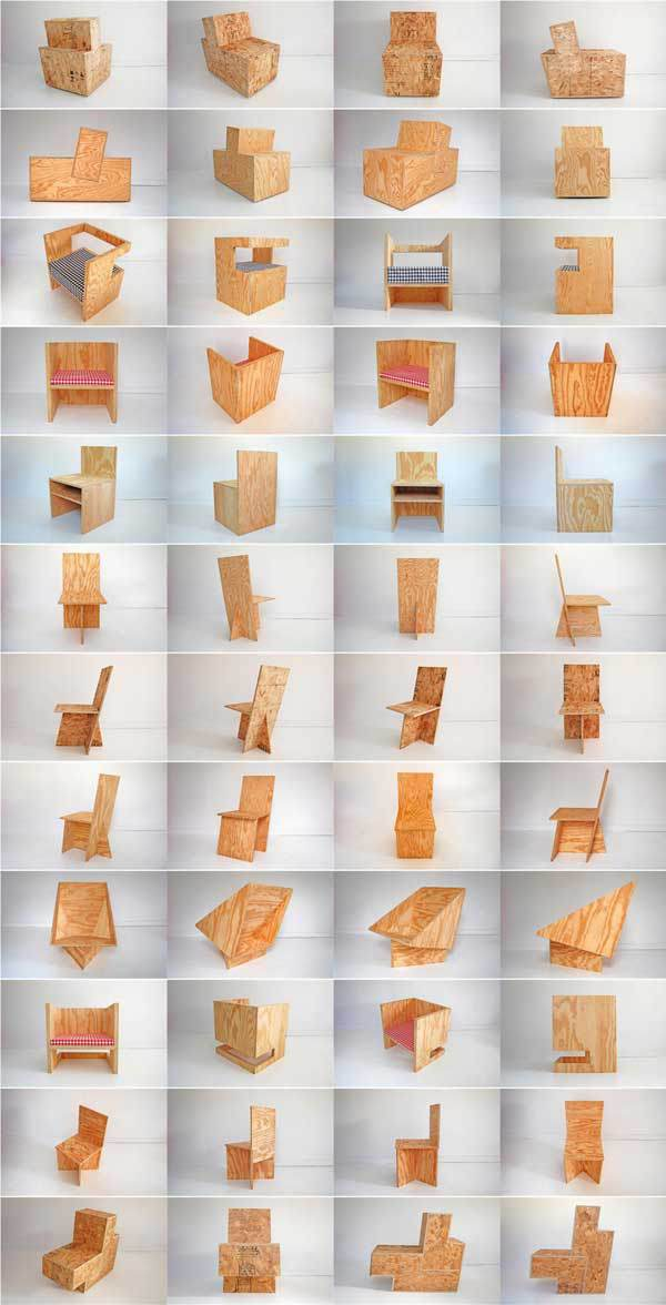 "Incredible set of butt-jointed plywood chairs by designers ROLU, what they call ""field recordings in wood."""