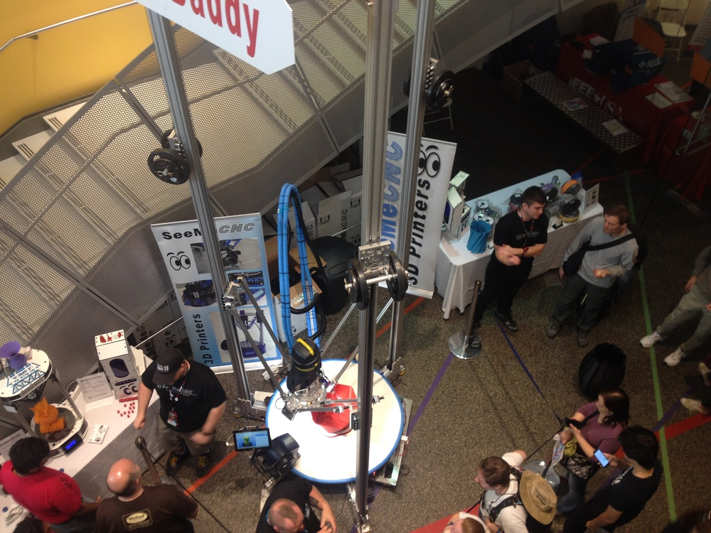 Hard to get a good picture because  SeeMeCNC's PartDaddy 3-D printer  had a 16'(!)- tall by 4'-diameter build volume.