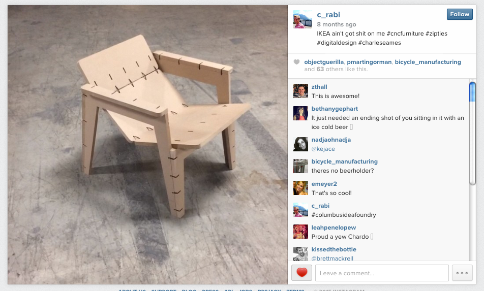 Video by  c_rabi on Instagram  showing his build of the Zip Tie Lounge Chair in Ohio.