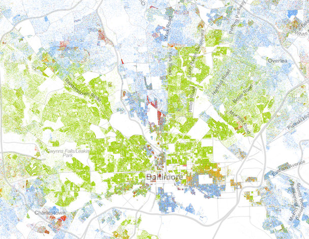 "Racial dot map of Baltimore, via CityLab, that clearly shows the ""White L"" that runs down the center of town."