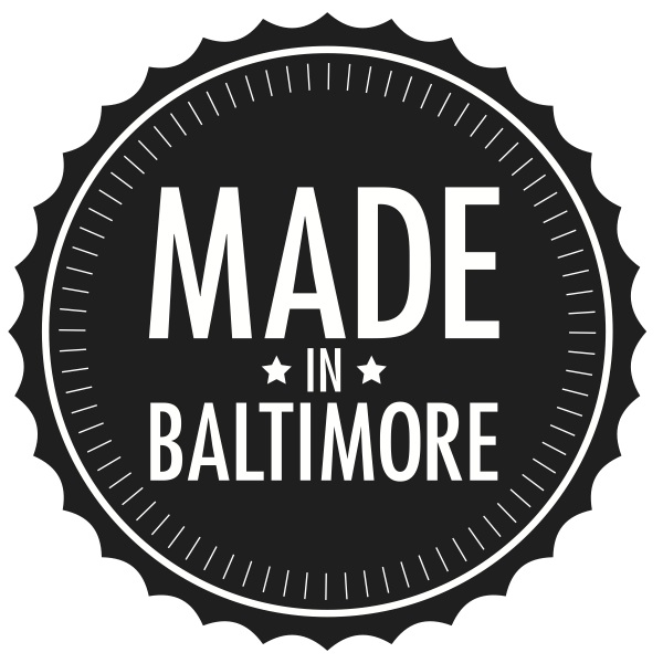 Made in Baltimore logo by  Elizabeth Eadie .