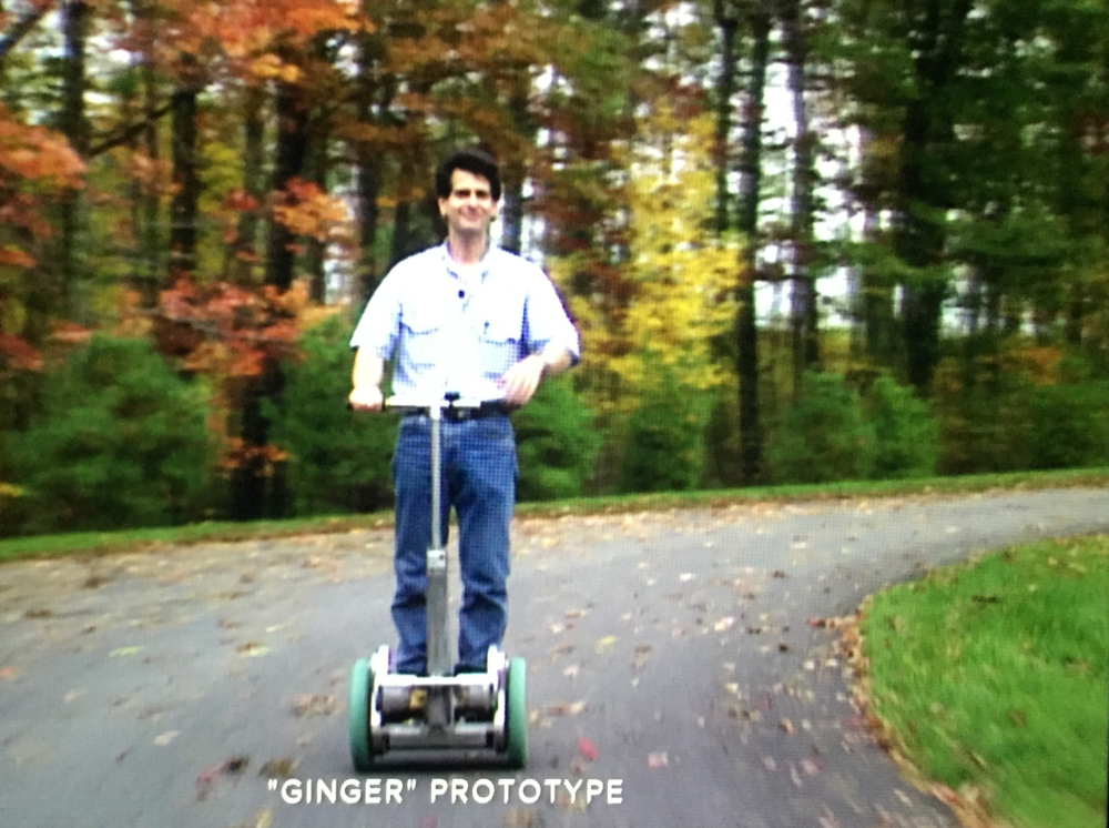 Screenshot of Kamen riding the first Segway prototype.