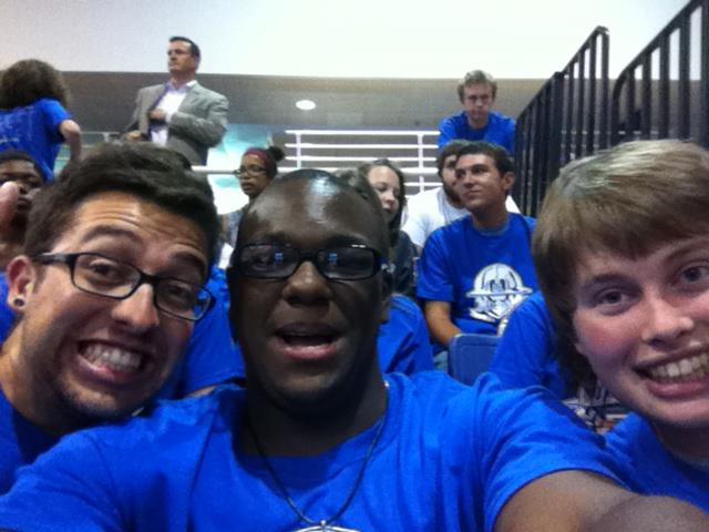 Cheering on AU's Volleyball Team w/ The Blue Crew