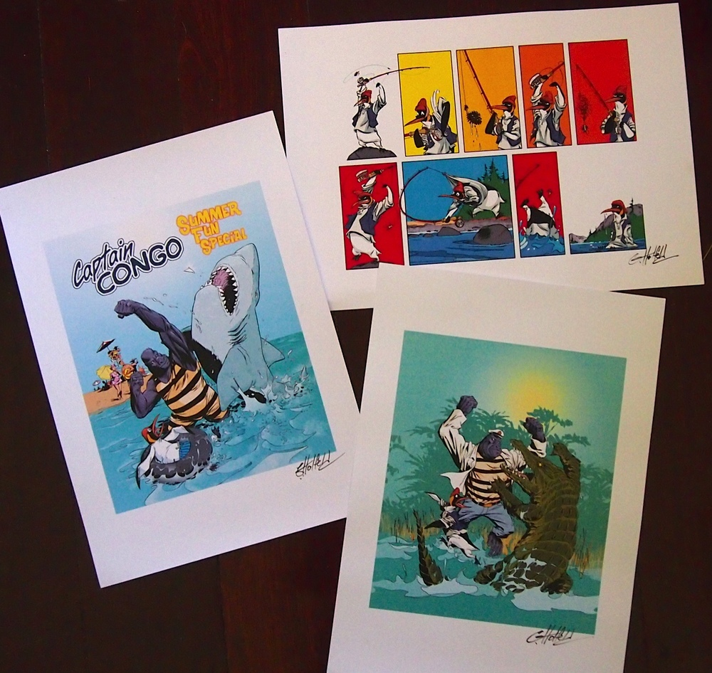 Set of Captain Congo prints, on heavy stock to absorb all spills.