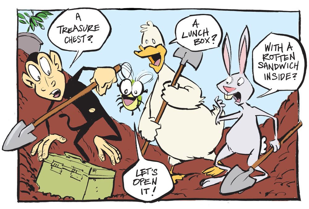Three panels in and there's buried treasure! Good grief, what's going to happen by page 3 ?!