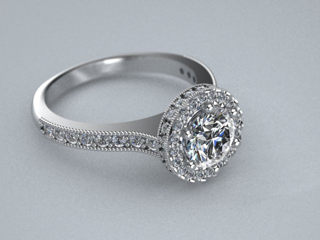 The Diamond Halo 14k engagement ring is the perfect way to say I love you.   With 3.5 carat total stone weight in G SI1 Quality and many hours of hard work. This ring is sure to please any wife or spouse to be! Very beautiful ring. She will be proud to wear a custom designed ring by Zander's Creations.