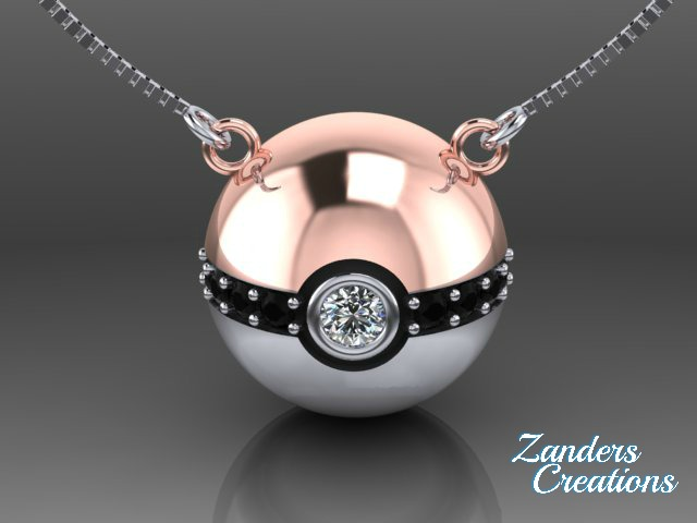 20mm 14k Rose and White Gold Pokeball Neckless.