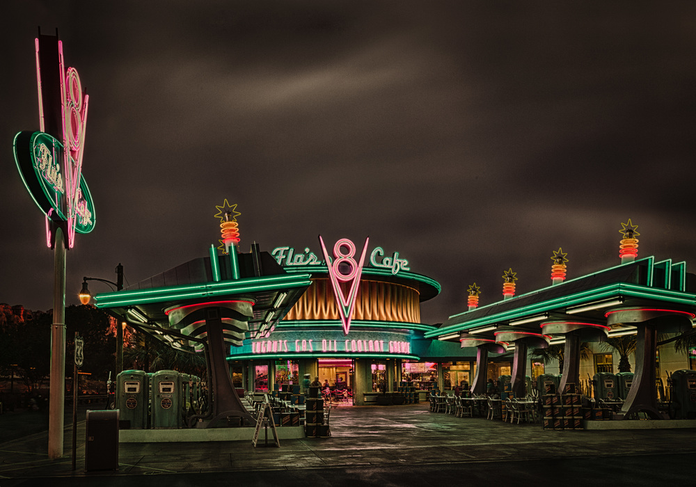Flo's Cafe Cars Land at Disneyland Anaheim in HDR