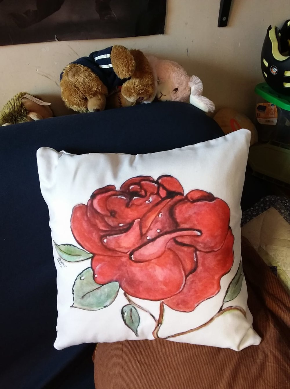 Throw Pillow with red wet rose art
