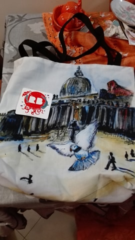 Large Tote Bag, with Holy Pigeons  art