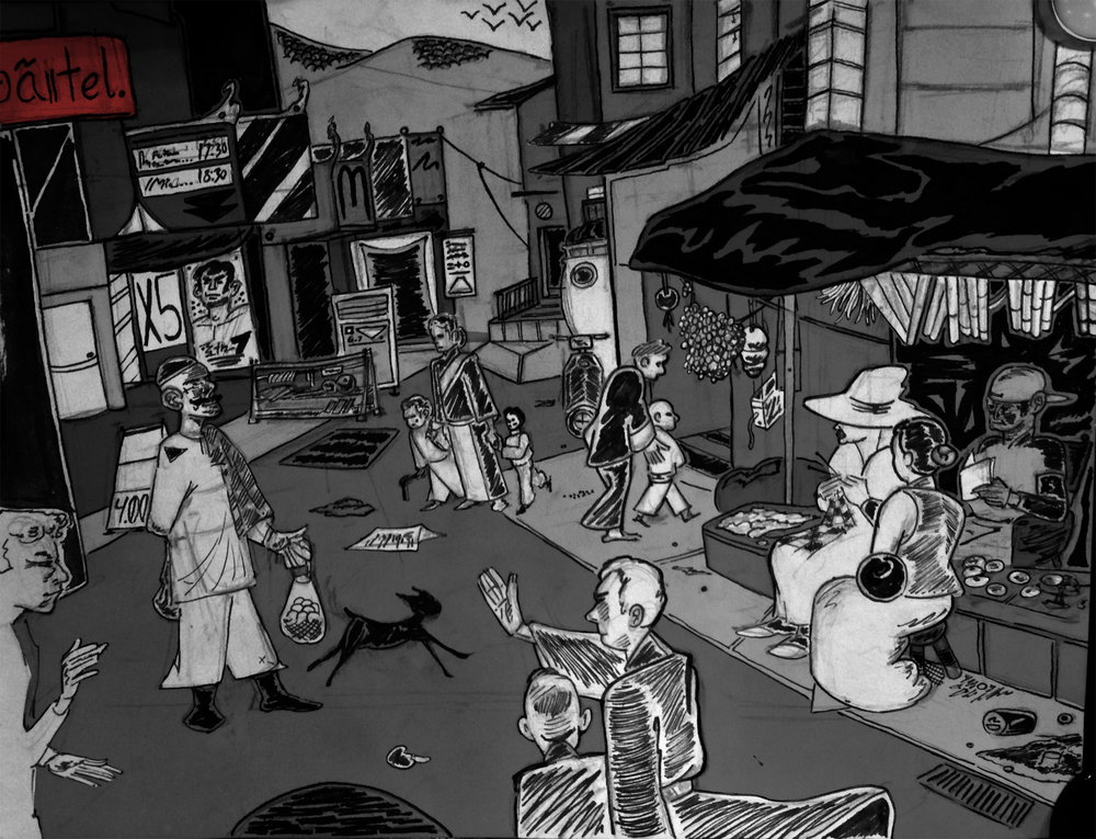 Picture drawn of a street in Dharamsala.
