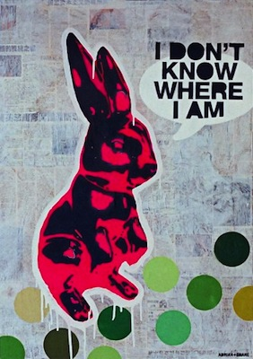 I Don't Know ...   (70 x 100 cm)   €1200  Spray paint and collage on canvas