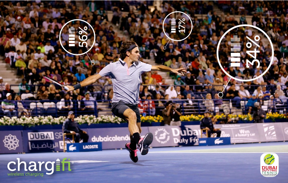 CHARGIFI, WIRELESS CHARGING, AT THE DUBAI DUTY FREE TENNIS CHAMPIONSHIP. ATP TOUR