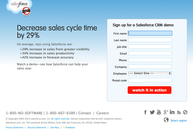 salesforce landing page