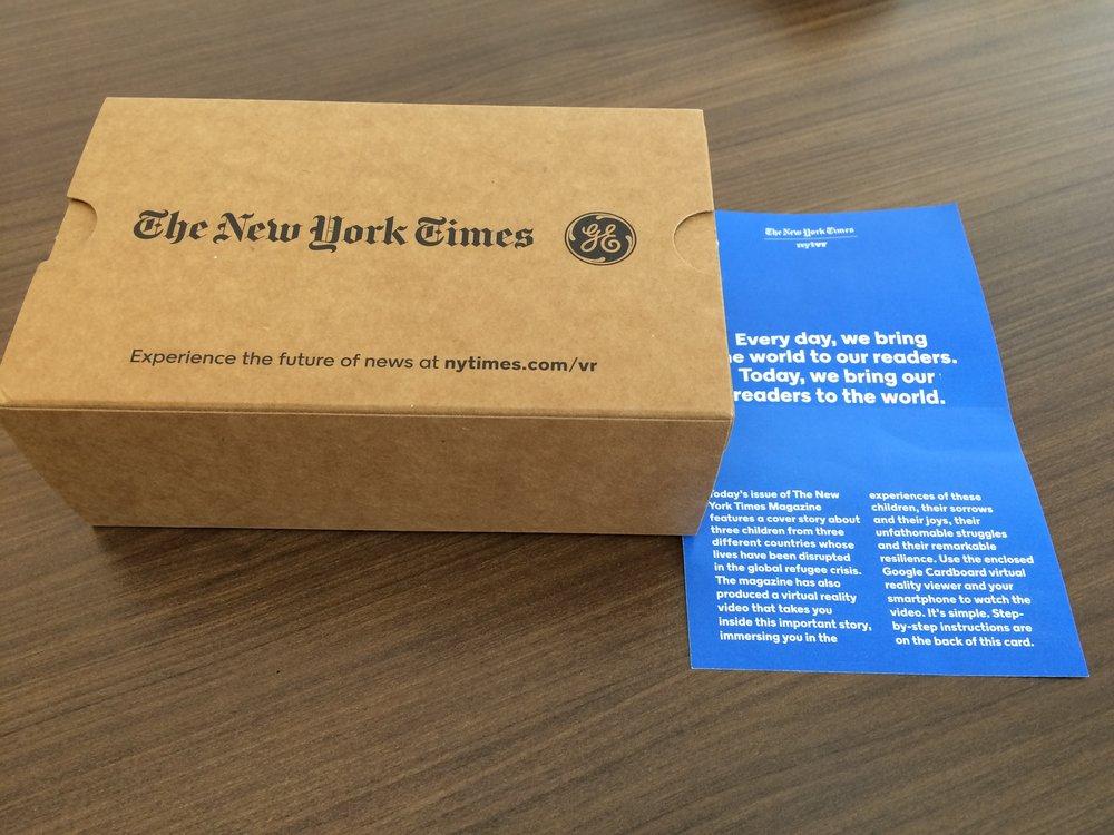 New York Times/GE Cardboard virtual reality viewer collaboration via The Broadbrush Update