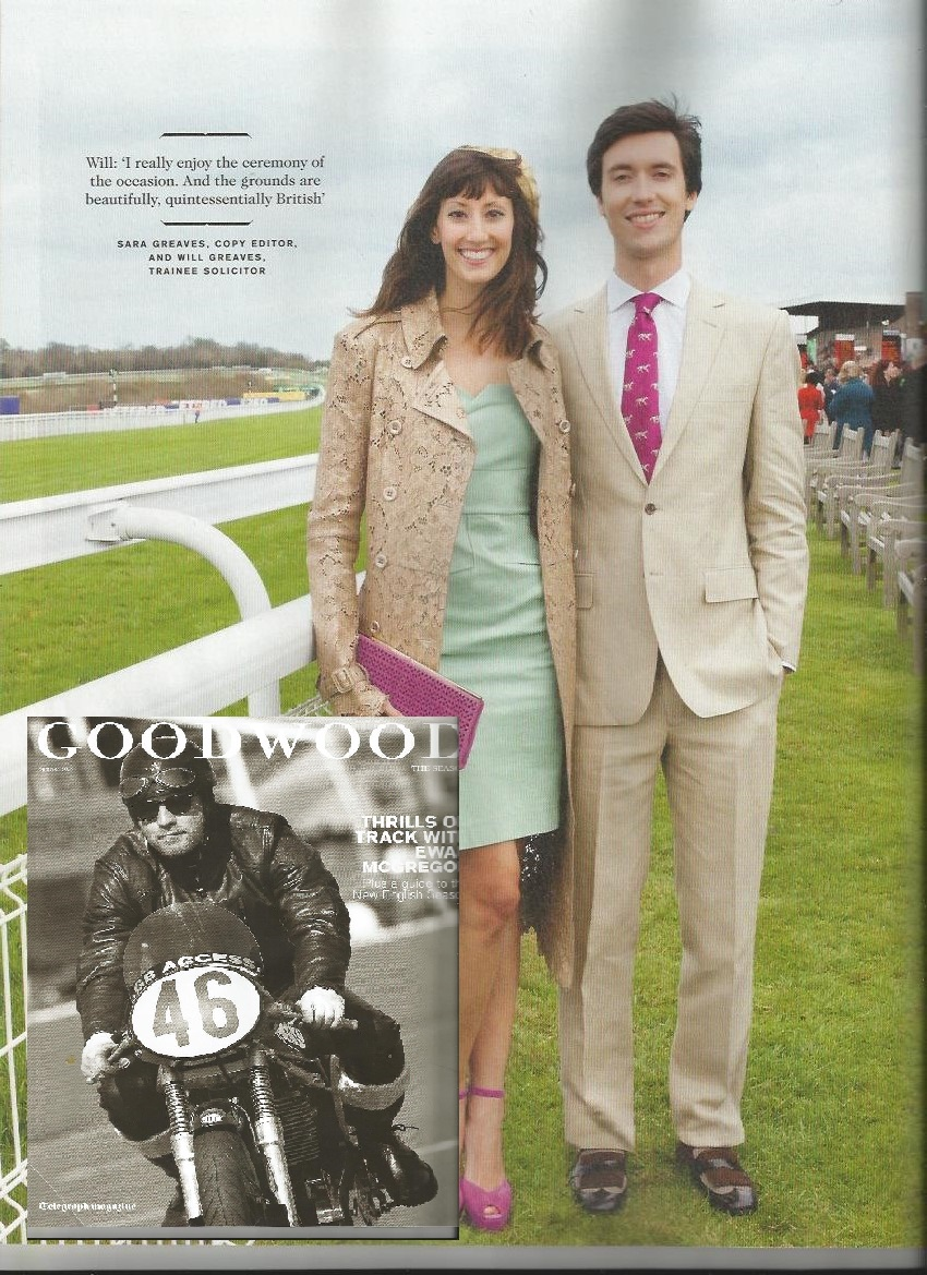 Gold feather in Telegraphs Goodwood Magazine May 13