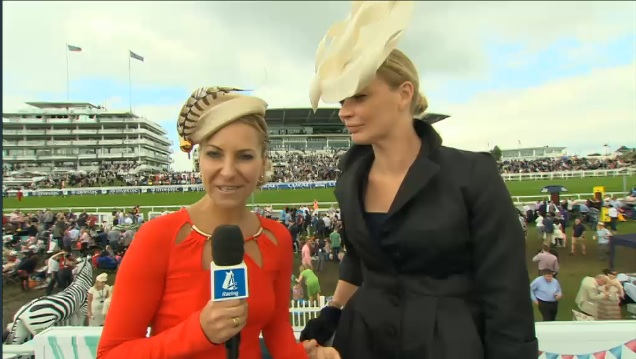 Channel 4 Racing's Emma Spencer wear 'O' at the Epsom Derby 2014