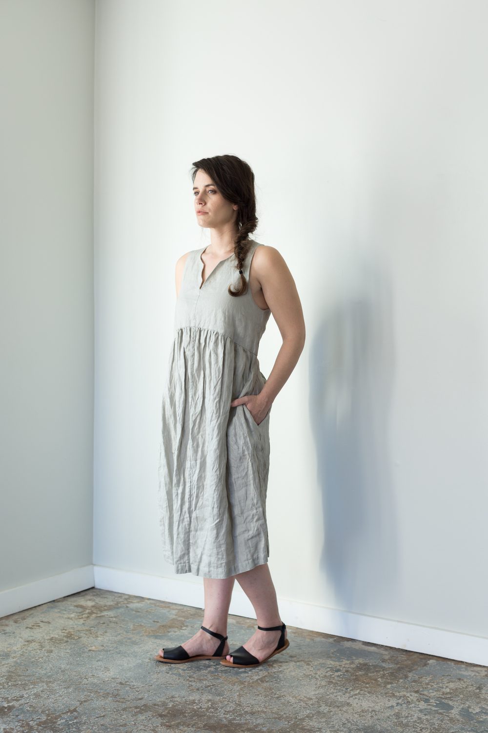 LAUNDERED SPARKLE LINEN DRESS