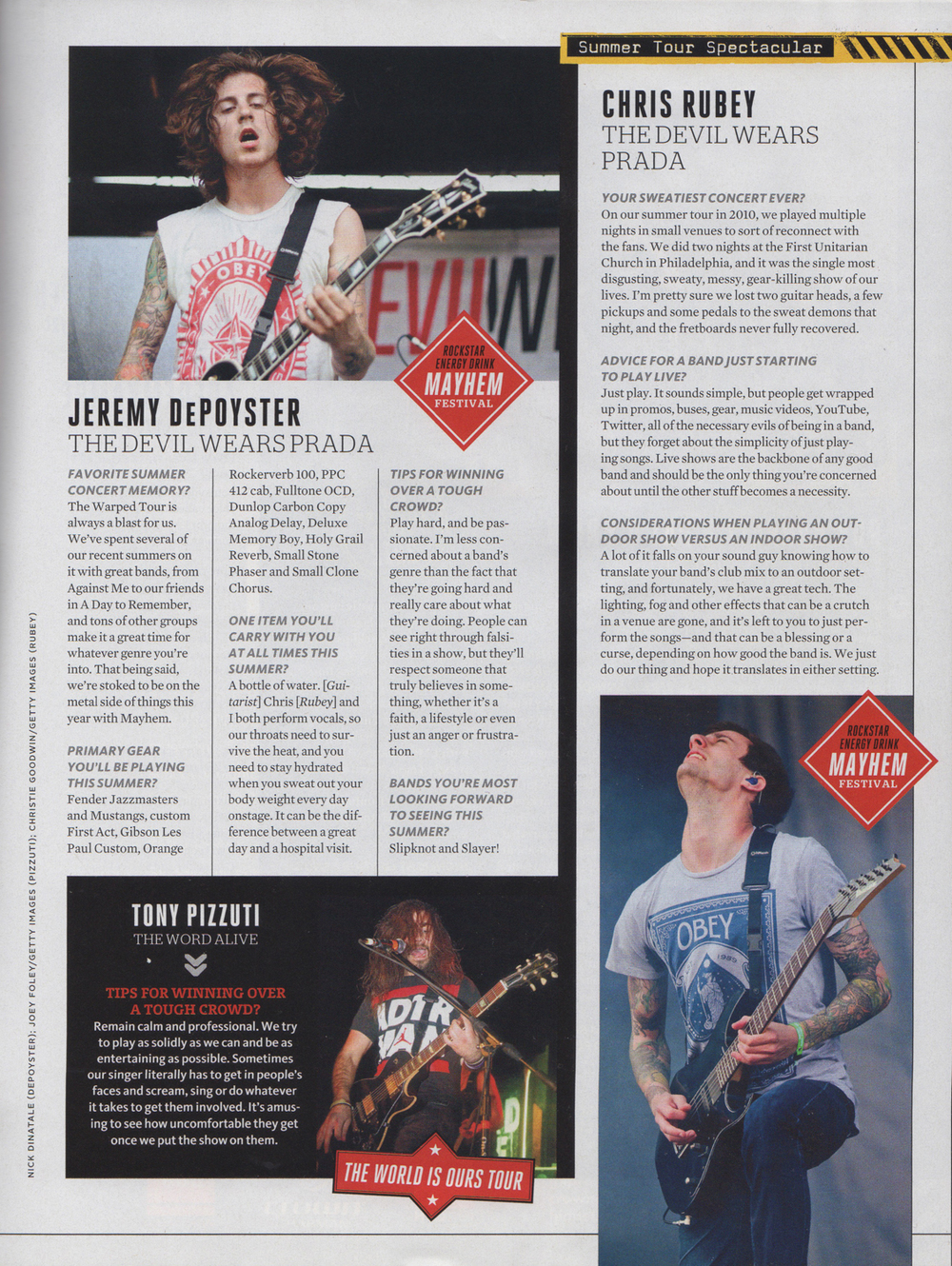 Guitar World - June, 2012  Summer Tour Spectacular , pg. 63