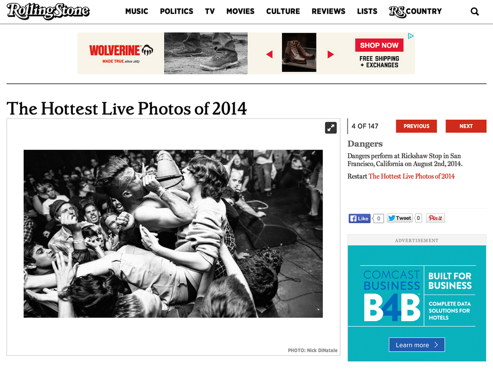 Rolling Stone - August 5th, 2014    The Hottest Live Photos of 2014