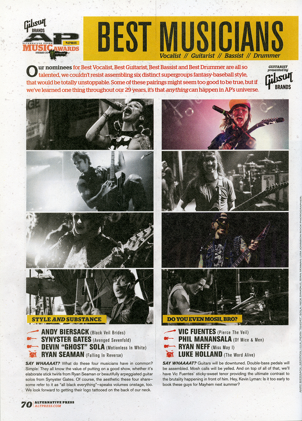 Alternative Press 313 - August, 2014  Alternative Press Music Awards Best Musicians , pg. 70