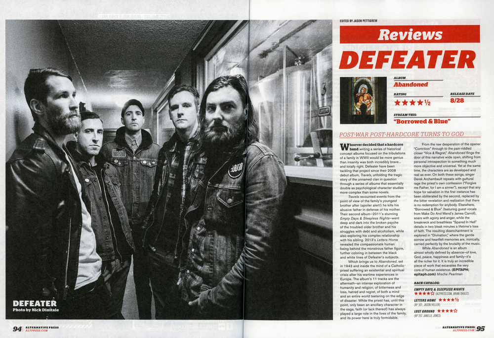 Alternative Press 326 - September, 2015 Defeater -  Abandoned,  pg. 94 & 95
