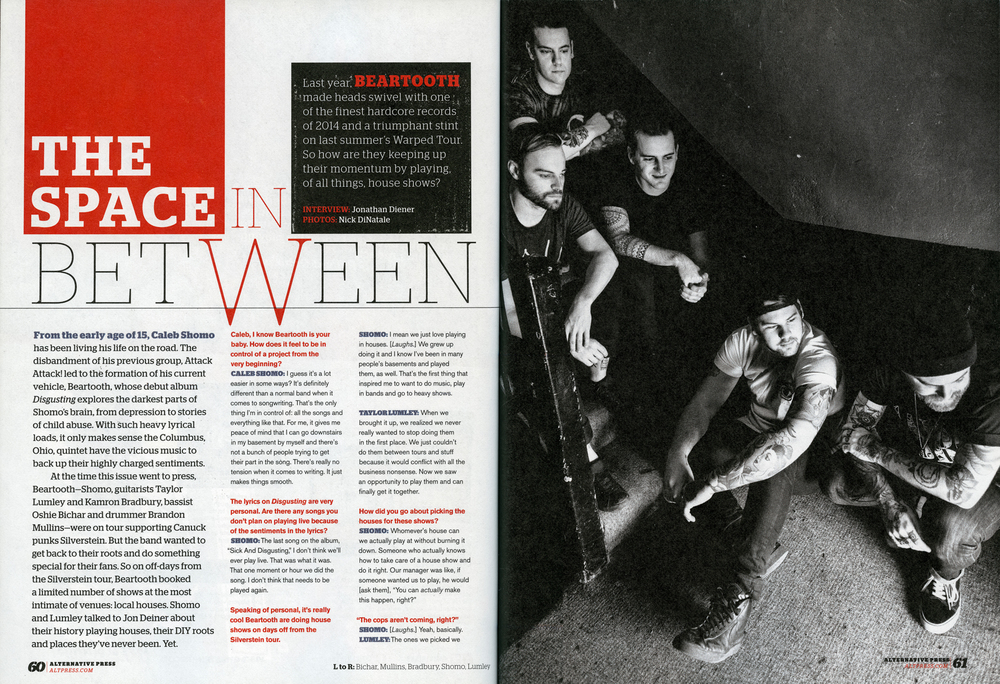 Alternative Press 322 - May, 2015 Beartooth -  The Space In Between , pg. 60, 61 & 62