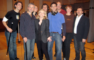 Tapping on the Young Frankenstein Cast Album.  Matt is pictured here with Susan Stroman, YF cast, and creatives.