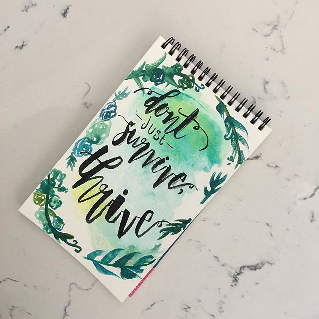 Throwing together a quick rough #watercolor and #bushpen lettering piece to get back in the groove off the #ipadpro 🙃 A little mantra for the New year. #newyear #goals #thriving #handlettering
