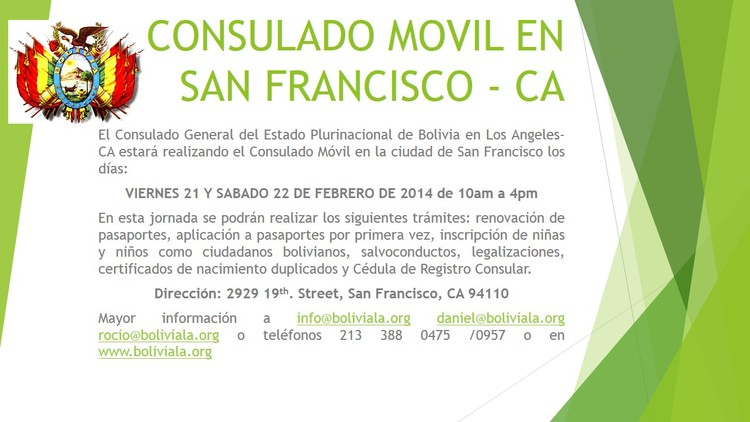 CONSULADO MOVIL EN SAN FRANCISCO — CONSULADO GENERAL DE BOLIVIA EN ...