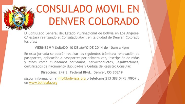 Consulado Móvil en Denver, Colorado — CONSULADO GENERAL DE BOLIVIA ...