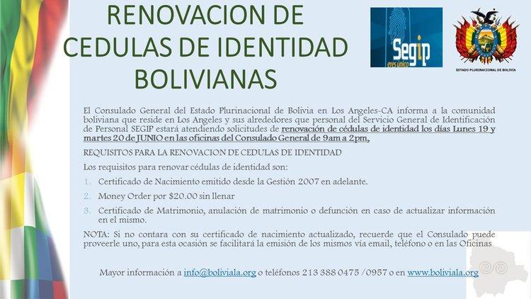 RENOVACION DE CEDULAS DE IDENTIDAD DE BOLIVIA EN LOS ANGELES ...