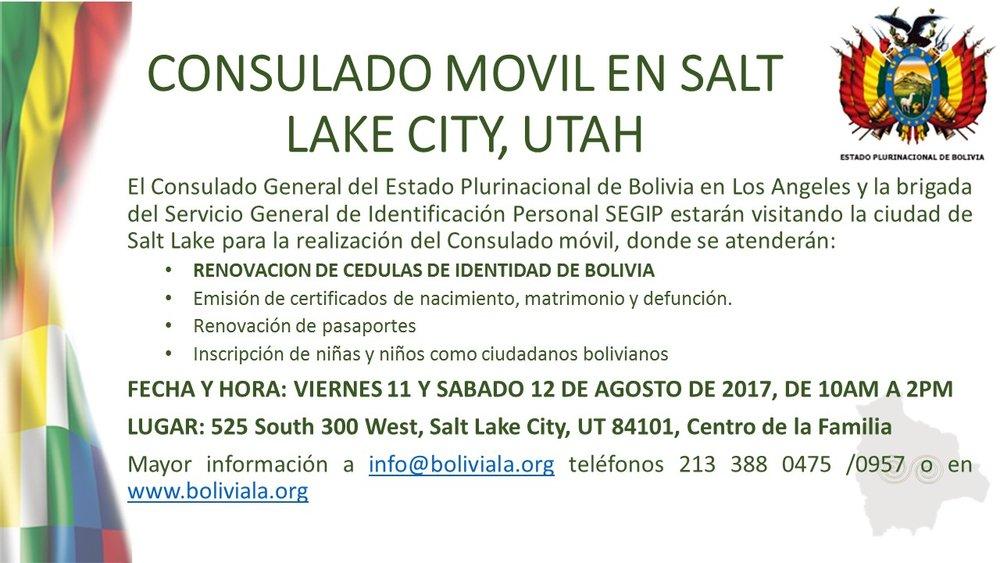 CONSULADO MOVIL EN SALT LAKE CITY, UTAH — CONSULADO GENERAL DE ...