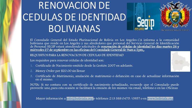 RENOVACION DE CEDULAS DE IDENTIDAD EN LOS ANGELES, SEPTIEMBRE 2017 ...