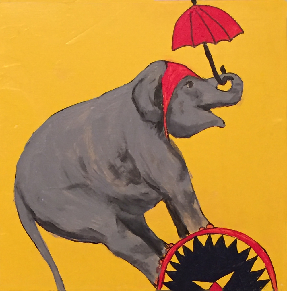 "Balancing Elephant with Red Umbrella . Acrylic on board. 8""x8""x1.5"". $350."