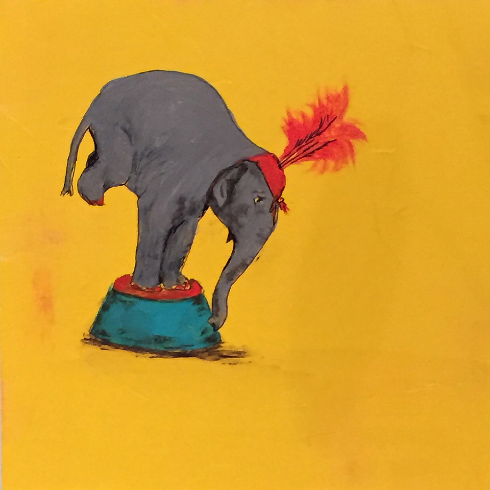 "Balancing Elephant . Acrylic on board. 8""x8""x1.5"". $350."