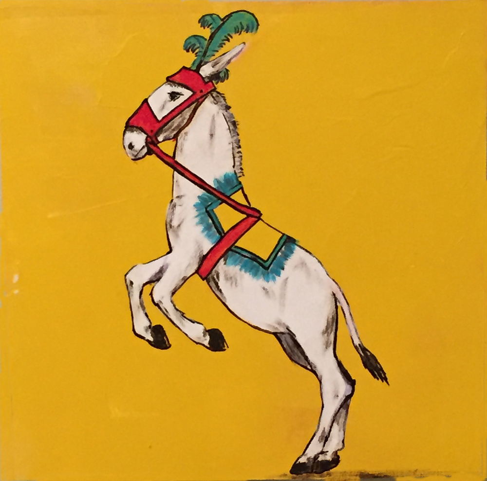 "Working Mule Gets to Dance . Acrylic on board. 8""x8""x1.5"". $350."