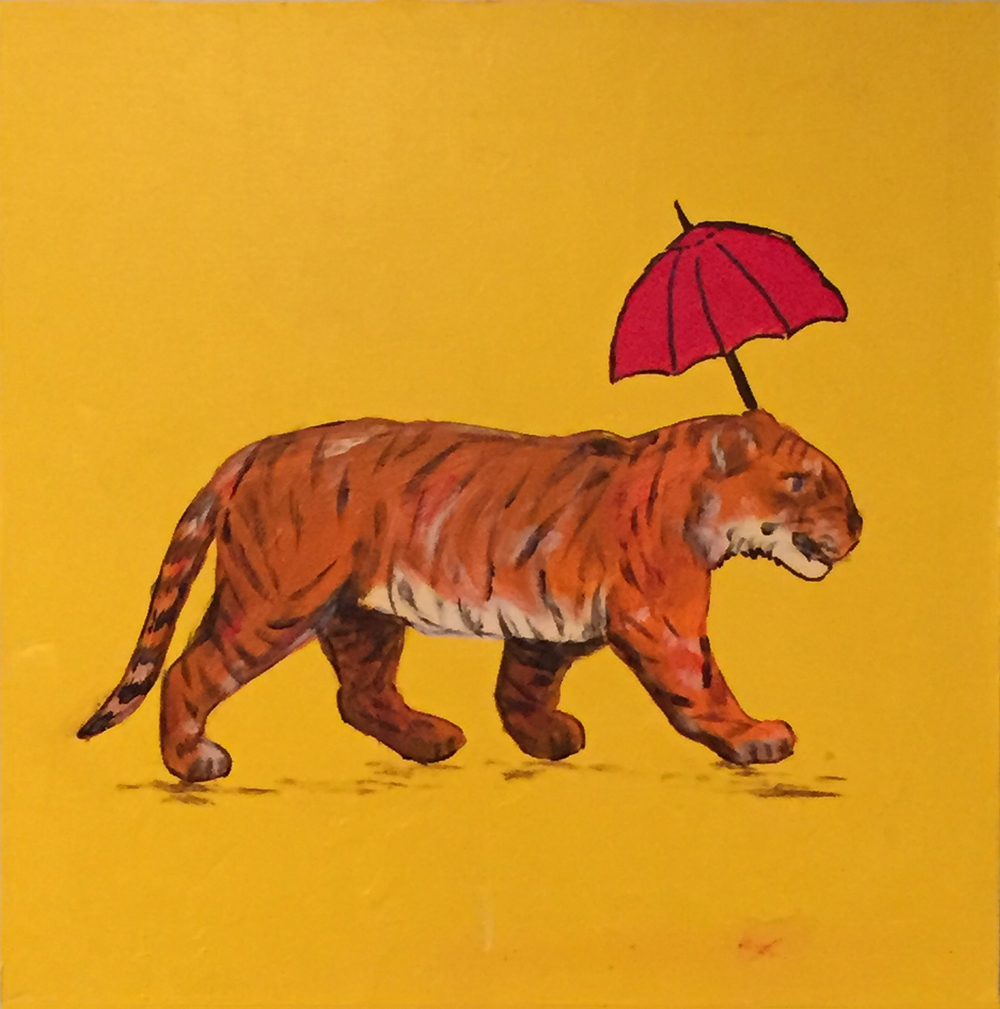 "Tiger with Red Umbrella . Acrylic on board. 8""x8""x1.5"".  SOLD ."